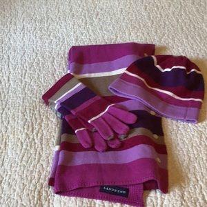 Lands End Purple Pink Scarf Hat Gloves Set.